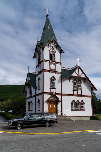 Church Iceland Architecture Beautifuliceland Building Building Exterior Built Structure Car City Cloud - Sky Day Land Vehicle Mode Of Transportation Motor Vehicle Nature No People Outdoors Place Of Worship Religion Road Sky Transportation