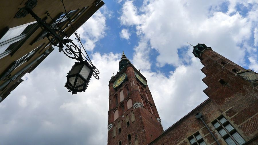 Architecture Building Exterior Built Structure Clock Clock Tower Cloud - Sky Day Gdansk (Danzig) Gdansk,poland History Low Angle View No People Outdoors Place Of Worship Sky Travel Destinations