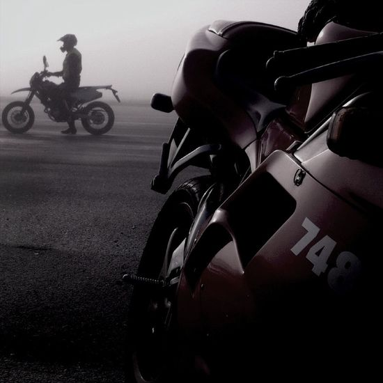 Out riding my Ducati with my son on his Husqvarna Supermotard