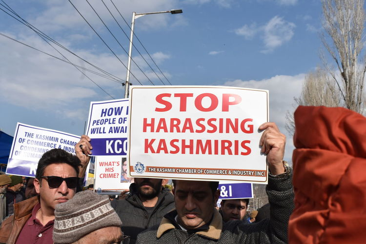 Traders carried out a protest in Srinagar on Friday against the harrassment of Kashmiris in different parts of India. Kashmir India Protest Harrasment Crowd Politics And Government Protestor Politics
