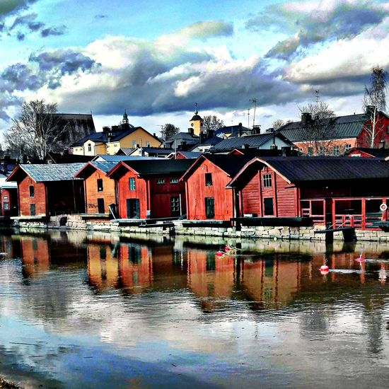 Reflection Water Architecture Cloud - Sky Waterfront Cityscape Riverside Old Buildings No People Scenery Porvoonjoki Day