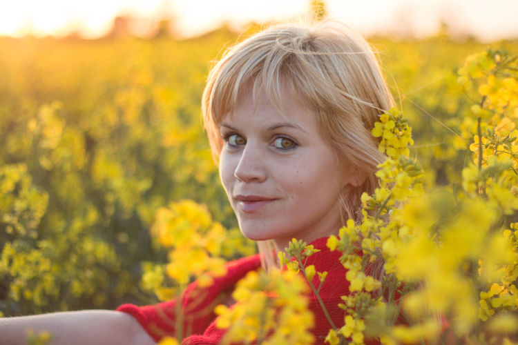 Portrait of beautiful young woman in rap field