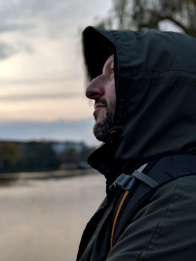Pixel 2 portrait mode gives pretty nice results. One Man Only Adult One Person Headshot Hood - Clothing Profile View Outdoors Beard Day Close-up Sky Autumn Portrait Being Lukasz Google Pixel 2 Team Pixel