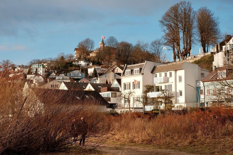 a rare sunny day on the banks of the Elbe Blankenese Sunny Day Christmas Holidays December Hamburg Elbe River Architecture Building Exterior Built Structure House Tree Residential Building Sky Day Outdoors Town Roof Bare Tree Nature