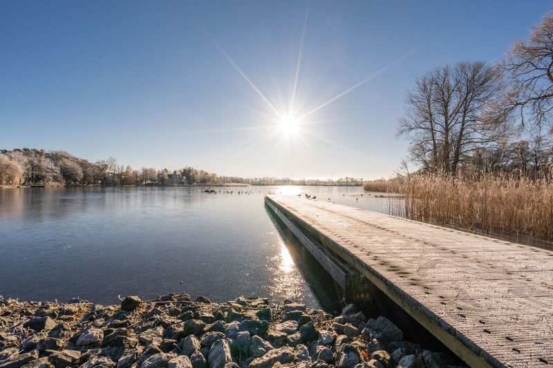 Bare Tree Beauty In Nature Clear Sky Cold Temperature Day Lake Lens Flare Nature No People Outdoors Scenics Sky Snow Sun Sunlight Tranquil Scene Tranquility Tree Water Winter