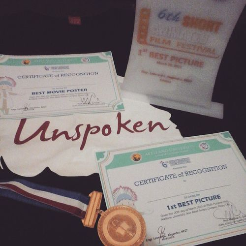Thank you Lord! Worth it ang pagpupuyat ko. HAHAHA! 😁👍👌👏 Unspoken BestMoviePoster 1stBestPicture 6thShortAnimatedFilmFestival