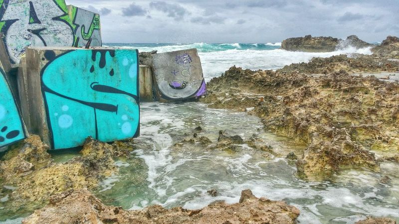 Nature Photography Waterscape The Great Outdoors – 2016 EyeEm Awards Carribean Cancun Graffiti Mexico Tidal Pool The Ocean Waves And Rocks Letter S