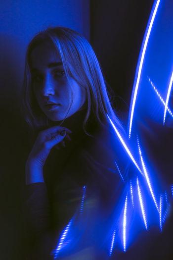 Neon portrait blue lines