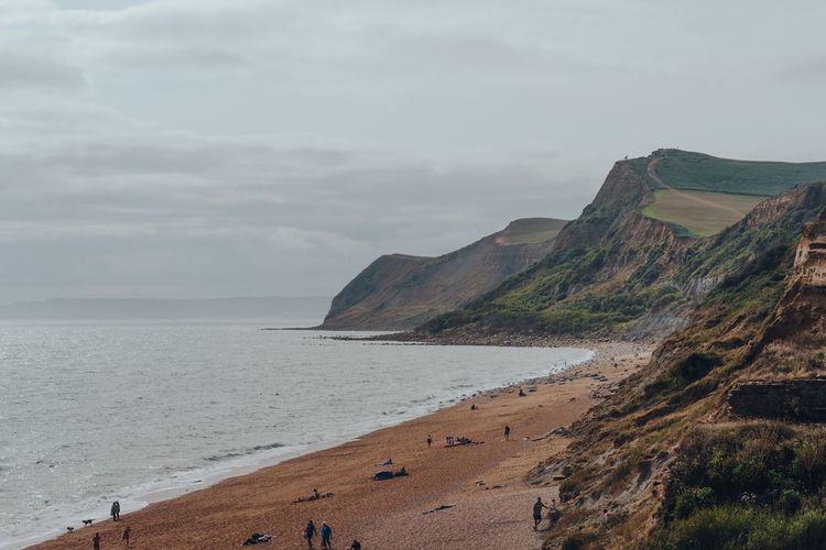 Scenic view of thorncombe beacon hill and eype beach on dorsets jurassic coast, uk.