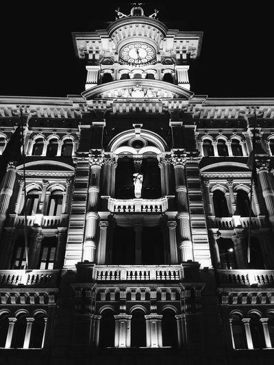 Municipio di Trieste IPSNight Trieste Italy Blackandwhite