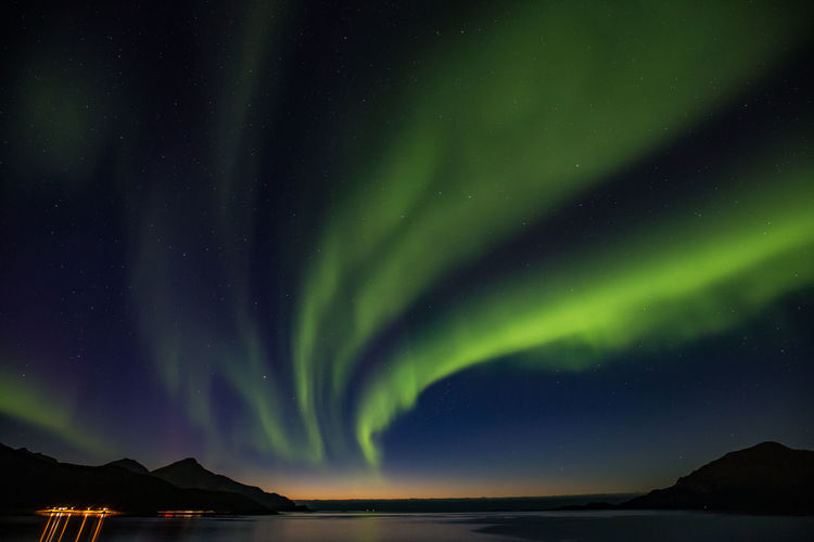 Polarlichter Aurora Polaris Northern Lights Norway Astronomy Green Color Natural Phenomenon Sky Star - Space