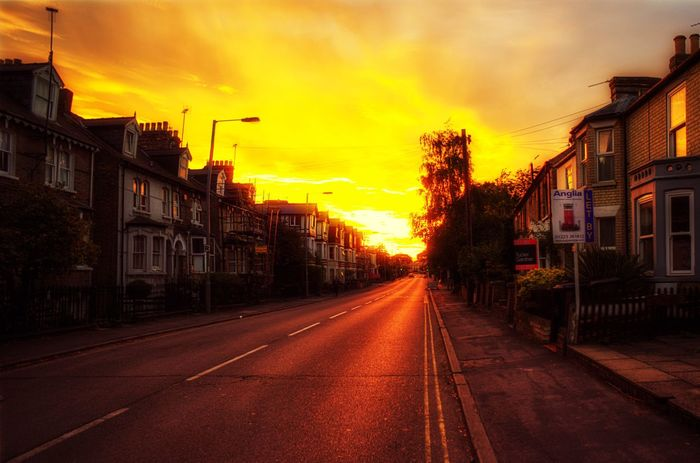 Sunset in the city Street Sunset Sky Outdoors Road City The Way Forward No People EyeEm EyeEm Gallery Cambridge England