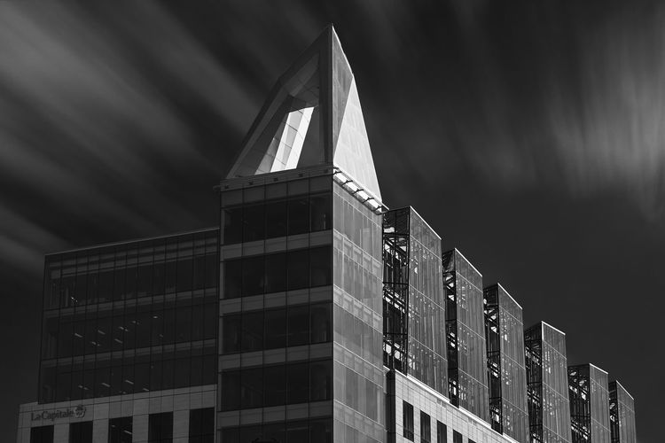 The Triangle Architecture Black & White Fine Art Photography Quebec Black And White Blackandwhite Building Fine Art Long Exposure Quebec City Sky