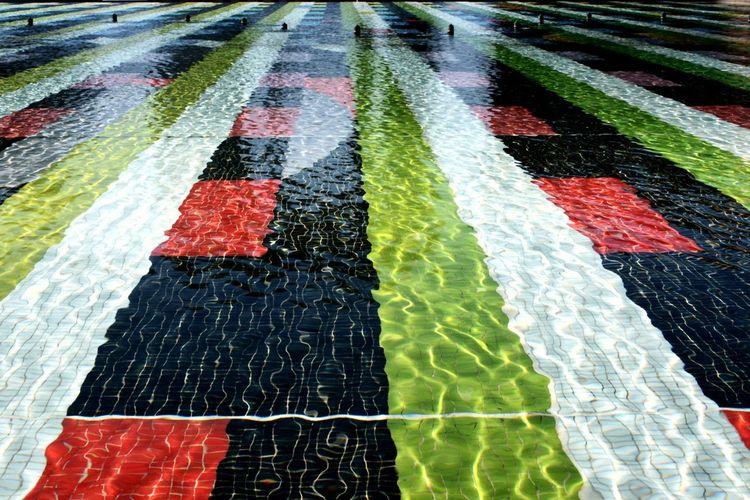 Water Paris Reflection Water Floor Tile Mosaic Tiles Modern No People Colors Colorful Multi Colored Backgrounds Flag Full Frame Close-up Marking LINE Architectural Design