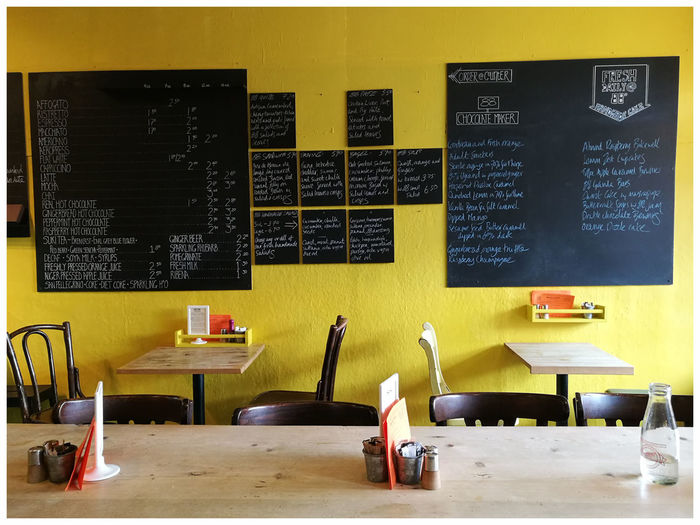 Yellow Background Interior Black Boards menus Writing On The Walls Cafe 88 Degrees Coffeehouse