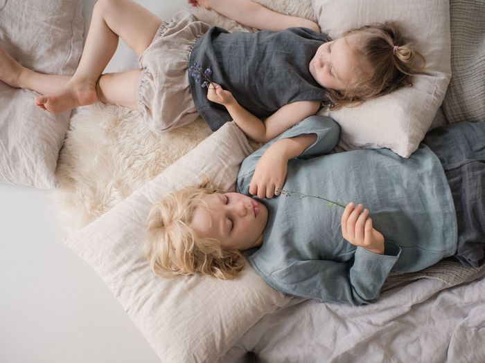 Childhood Child EyeEm Selects Relax Siblings Brother Sister Talking Lying Down Bright Summer Day Interior Domestic Room Linen