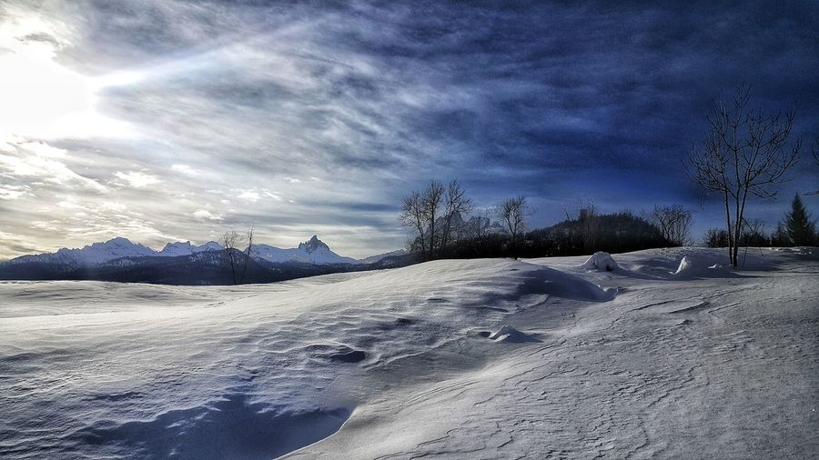 Snowy Days... Christmas Around The World Snow Cold Temperature Winter Nature Sky Weather Cloud - Sky Tranquility Tranquil Scene No People Beauty In Nature Outdoors Frozen Landscape Scenics Day Mountain Shades Of Winter