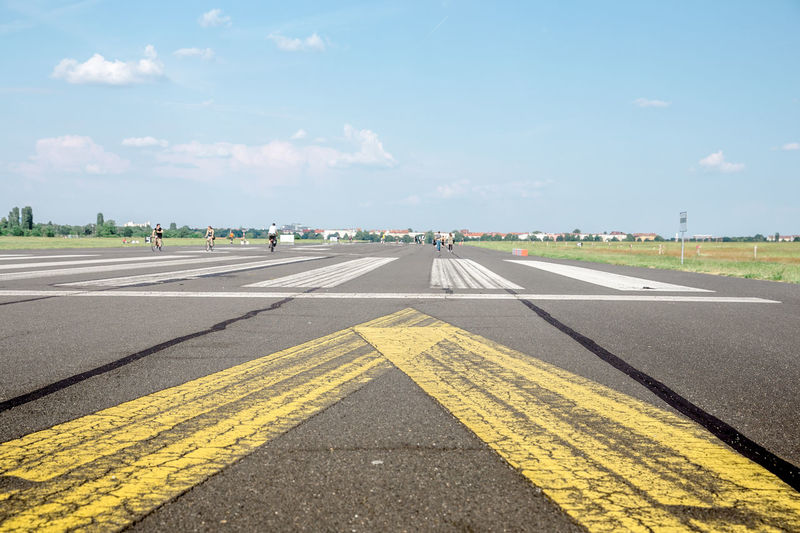Airfield Asphalt Blue Day Empty Road Leisure Activity Park Road Road Marking Runway Sky Tempelhofer Feld Vanishing Point