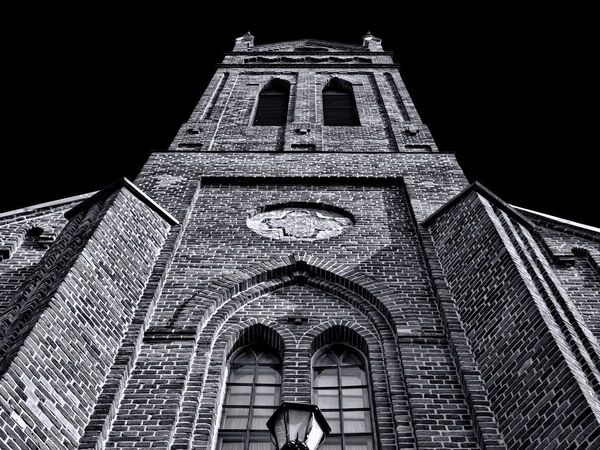 Red brick building church tower view black and white photo Architecture Built Structure Building Exterior Low Angle View Building Arch Spirituality Religion History Place Of Worship Belief The Past Sky Night Travel Destinations Nature Tower Brick Building Faith