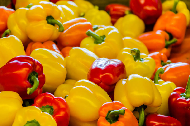 Full frame shot of bell peppers for sale at market