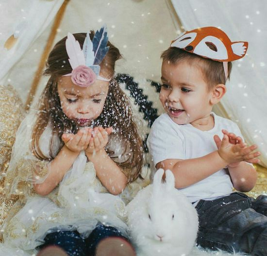 Portrait Of Two Children And Rabbit