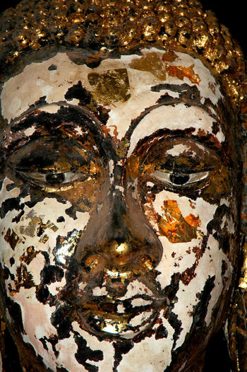 Gold Leaf Thailand Buddha Chipped Pained Face Close-up Day No People Old Buddha Statue Painted Face Textured  Wooden Buddha