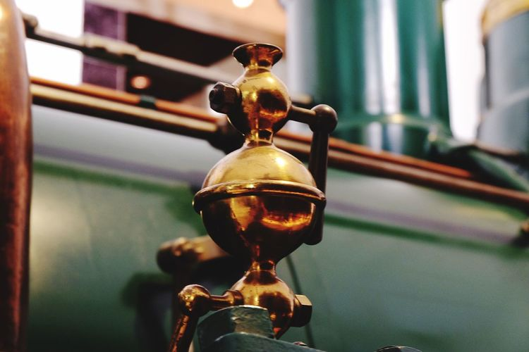 Close-up of old steam train part