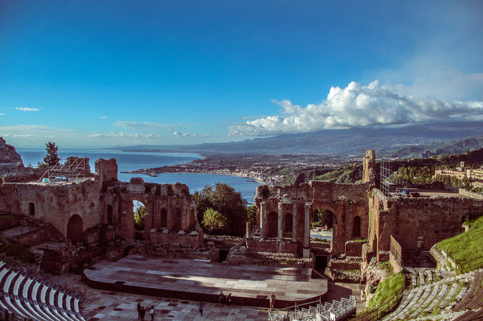 Architecture Building Exterior Built Structure City Cityscape Cloud - Sky Csontváry Day Greek Theatre  Illuminated Nature No People Outdoors Sea Sicilia Sicily Sicily, Italy Sky Star - Space Taormina Taormina And Etna Theatre Travel Destinations Tree Urban Skyline