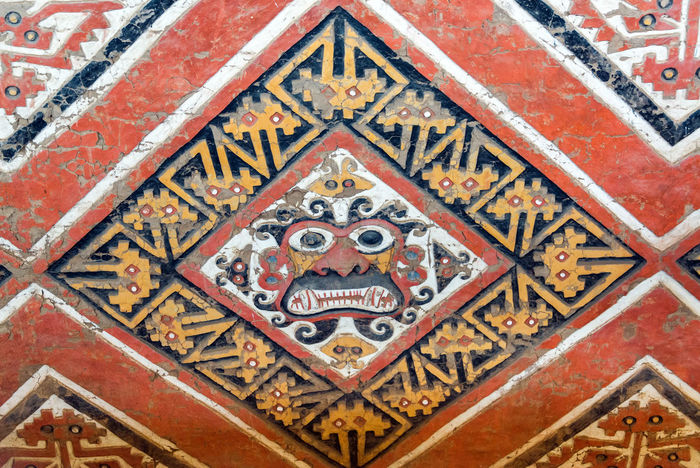 Details of an ancient fresco in Huaca de la Luna in Trujillo, Peru Adobe Architecture Art Close-up Colorful Face Fresco Frescoes Huaca De La Luna Indigenous  Moche Multi Colored No People Peru Red Temple Tourism Travel Travel Destinations Trujillo