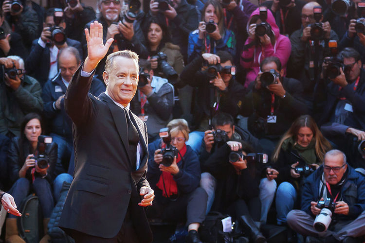 Rome, Italy - October 13, 2016: Tom Hanks on the red carpet at the 11th film festival in Rome, greets the audience. Actor Actor; Famous; Red Carpet; Tom Hanks; Greets;photographers American Actor Character Event Front View Greetings Lifestyles Men Oscar Award Person Red Carpet Rome Film Festival Tom Hanks Rome Film Fest Celebrity LifeIsGood💜 Redcarpet News Red Carpet Event Famous People Celebrities Scenic Movies