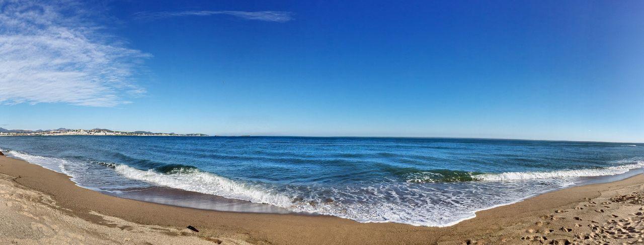 Sea Beach Water Panorama View Panoramic Panoramique  Panorama Mer Mediterranean  Au Bord De L'eau Au Bord De Mer Méditerranée Plage Eau Mer Mediterranée Côte D'Azur CIELFIE Skyfie Beauty In Nature Vague Blue Sable
