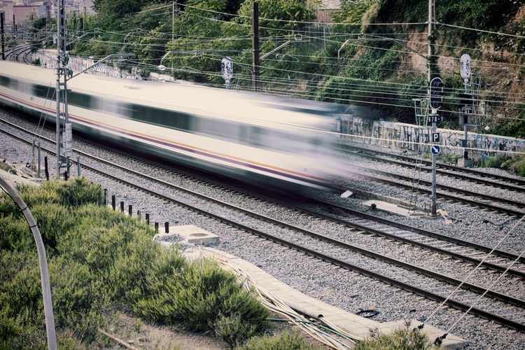 Train Railroad Track Speed The Way Forward Blur Motion Blur Barcelona Slow Shutter