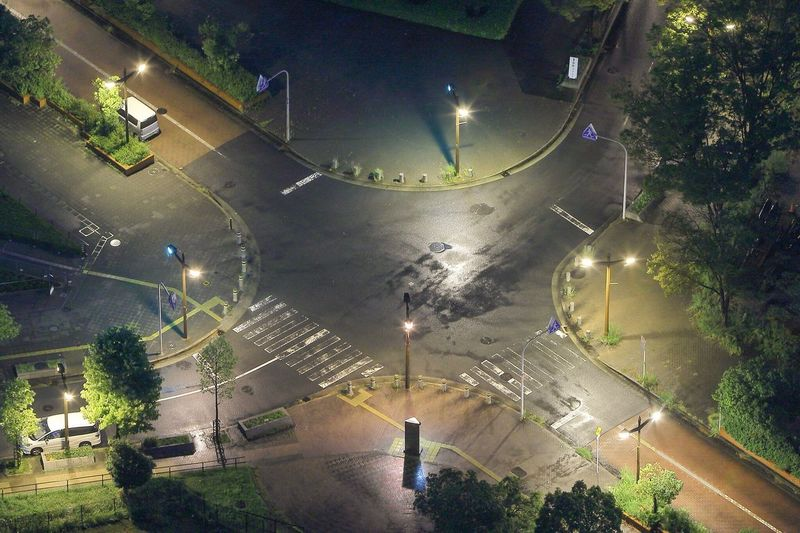 High Angle View Of Empty Roads In City At Night