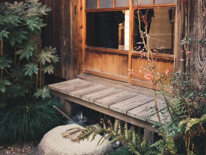 Wooden Seat Outside House