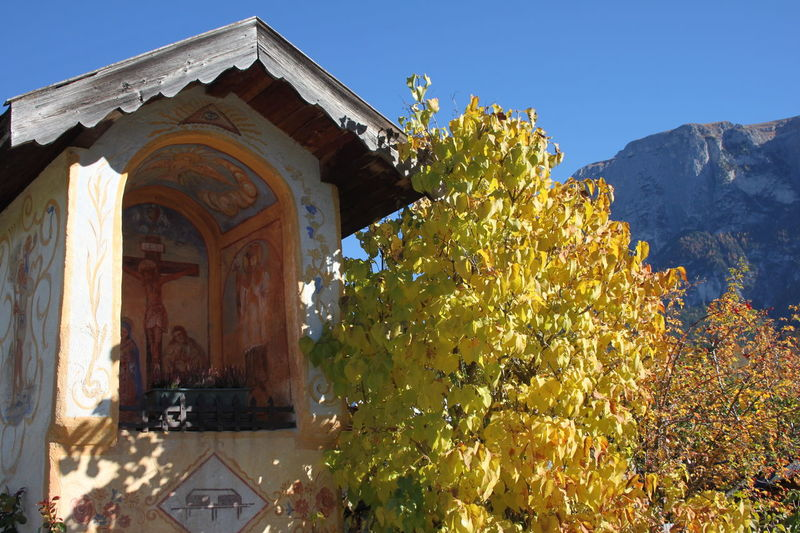 Architecture Autumn 2016 Blue Sky Day Fiè Allo Sciliar Frescoes Italy Mountain Range No People Outdoors Plant Südtirol Votive Chapel Yellow Color