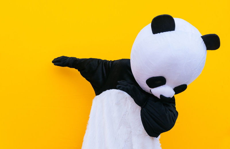 Close-up of panda gesturing against yellow background