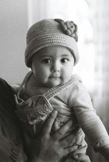 Black And White Portrait Film Photography Film 36mm Ilford Ilfordpan400 Baby Filmcamera Mamiya Portrait Of A Girl