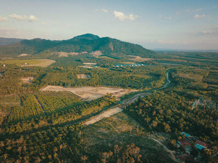 Aerial view of mount ophir which is located in johor, malaysia.