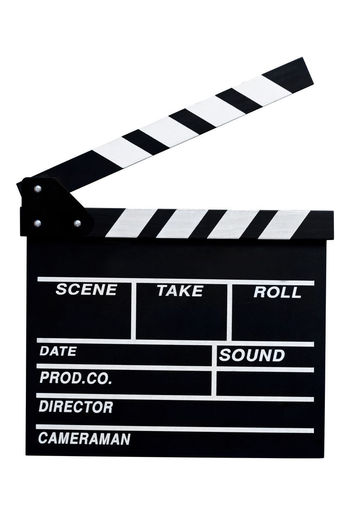 Isolated Arts Culture And Entertainment Black Color Clapper Board Clapperboard Close-up Communication Day Film Industry Film Slate Guidance Isolated White Background No People Slate Text White Background