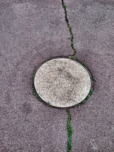 Directly above shot of sewer manhole cover