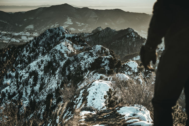 Man and mountain moody landscape - cinematic look image