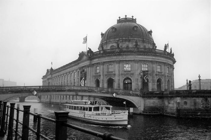 Architecture Black & White Black And White Blackandwhite Bodemuseum Berlin Bridge City Day Historical Building History Monochrome Monochrome Photography Museum No People Outdoors Railing Ship Sky Snow Transportation Vehicle Travel Travel Destinations Water Winter Welcome To Black