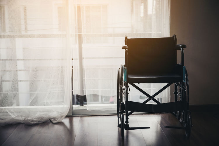 Empty wheelchair at home
