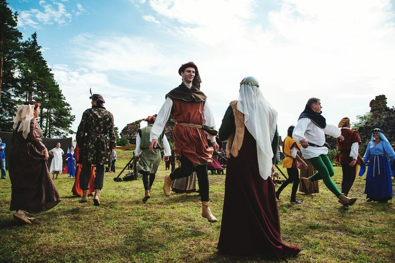 Medieval dance Arts Culture And Entertainment People Headwear Dancers Medieval Medievaldress Sky And Clouds EyeEm Best Shots