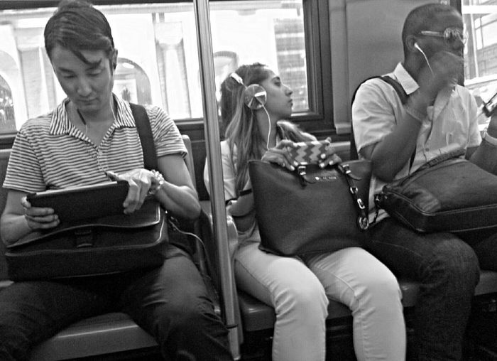 See no evil, hear no evil, speak no evil. NYC Commuter Urban Commute Socialmedia Streetphoto_bw Nycstrangers Nyclife