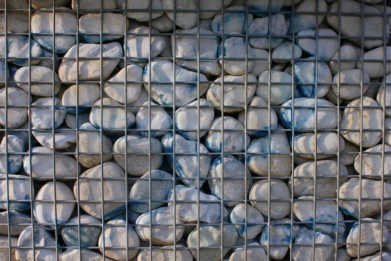 Backgrounds Blue Blue And White Blue Rocks Blueandwhite Cage Caged Caged Freedom Close-up Construction Day Decoration Full Frame Industry Large Group Of Objects No People Outdoors Pattern Raw Materials Rocks Textured