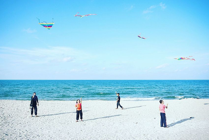 Showcase July Kite Kite Flying Children Kids Playing Beach Sea Blue Sky Enjoying Life Happy Enjoy Vacation Travel Batu Buruk Terengganu Malaysia Beach Happy Life Check This Out Three Layers Horizontal