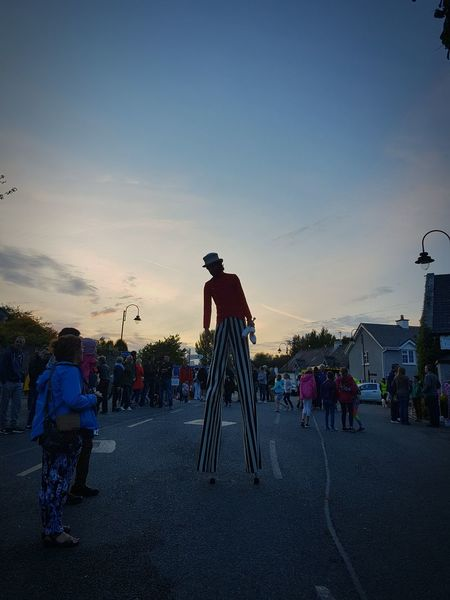 Village arts festival Sunset Sky People Silhouette Large Group Of People Outdoors Man On Stilts Terryglass Arts Festival Street Entertainment Street Entertainer