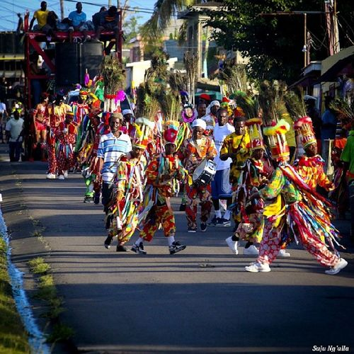 Parade day of the 2014 Black San' Bang-a-Lang... community festival for the Sandy Point area... Masquerades Sandypoint Blacksan StKitts