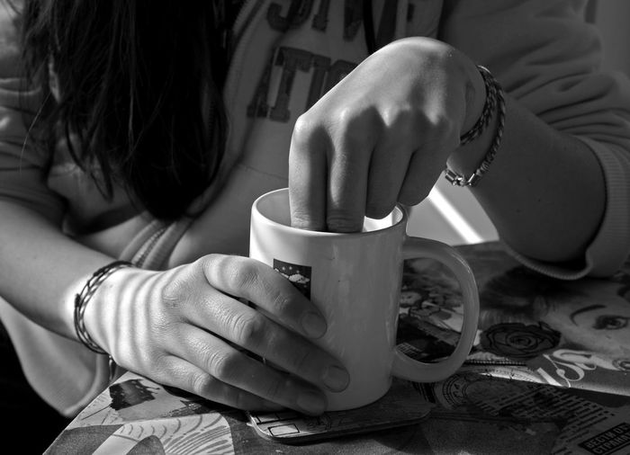 Black & White Coffee Coffee Time EyeEmNewHere Hands Morning Morning Coffee Black And White Black And White Collection  Blackandwhite Photography Close-up Coffee Break Coffee Cup Day Drink Food And Drink Human Hand Indoors  Lifestyles Morning Rituals Table Women